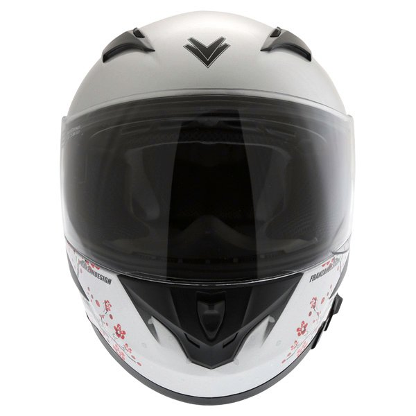 Frank Thomas FT36SV Cherry Silver Ladies Full Face Motorcycle Helmet Front