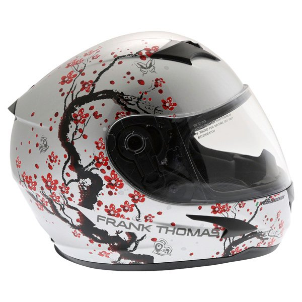Frank Thomas FT36SV Cherry Silver Ladies Full Face Motorcycle Helmet Right Side