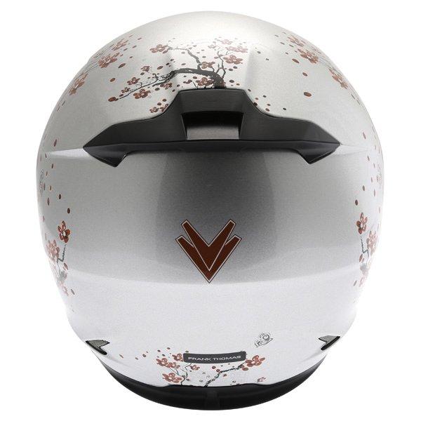 Frank Thomas FT36SV Cherry Silver Ladies Full Face Motorcycle Helmet Back