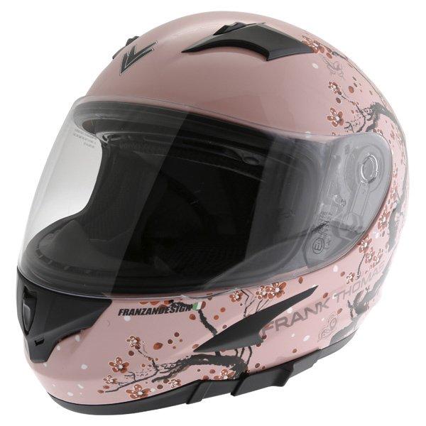 Frank Thomas FT36SV Cherry Pink Ladies Full Face Motorcycle Helmet Front Left