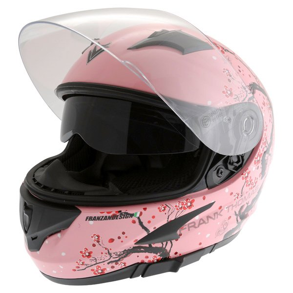 Frank Thomas FT36SV Cherry Pink Ladies Full Face Motorcycle Helmet Open With Sun Visor