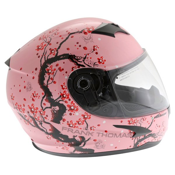 Frank Thomas FT36SV Cherry Pink Ladies Full Face Motorcycle Helmet Right Side