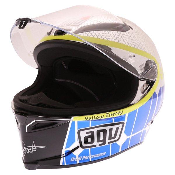 AGV Corsa Valentino Rossi Mugello 2015 Limited Edition Full Face Motorcycle Helmet Visor Open