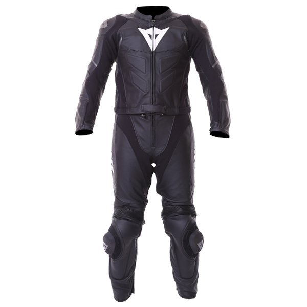 Dainese Avro D1 2pc Mens Black Anthracite Leather Motorcycle Suit Front