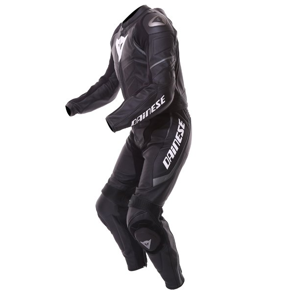 Dainese Avro D1 2pc Mens Black Anthracite Leather Motorcycle Suit Racing crouch
