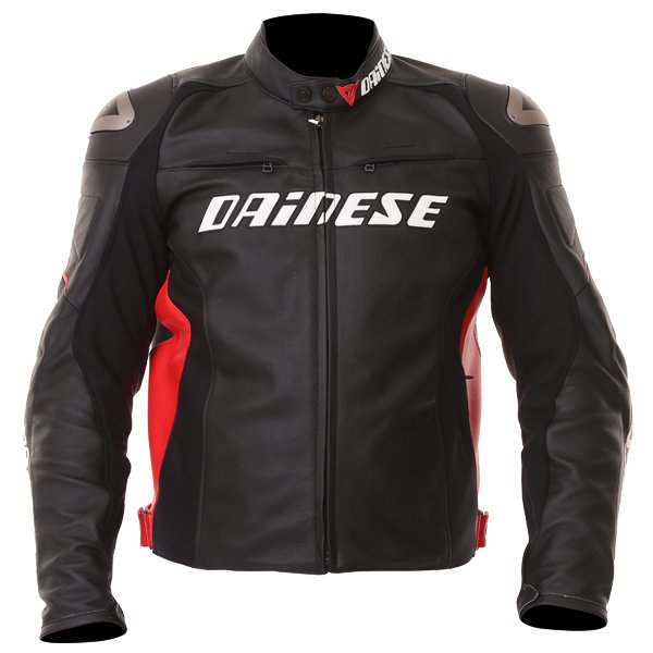 Dainese Racing D1 Black Red Leather Motorcycle Jacket Front