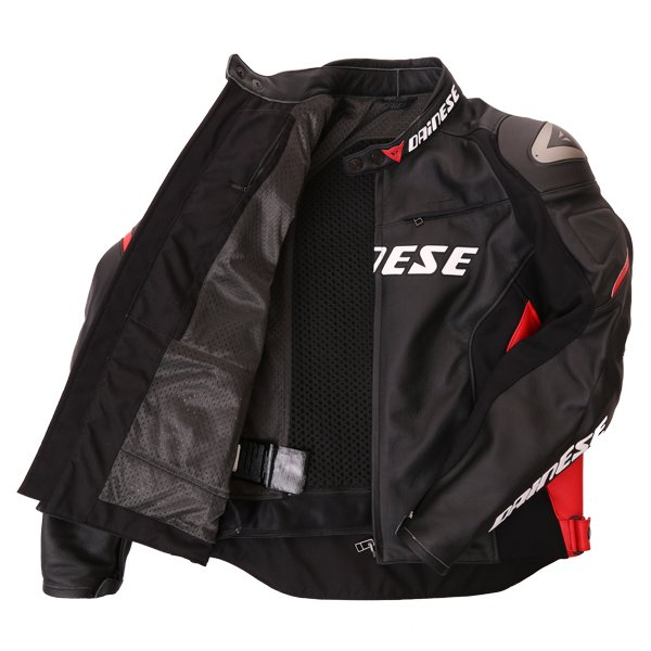Dainese Racing D1 Black Red Leather Motorcycle Jacket Inside