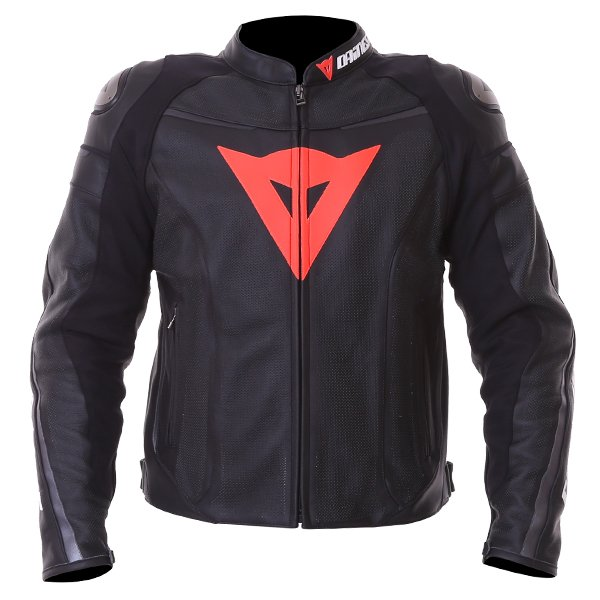 Dainese Superfast Perf Black Anthracite Leather Motorcycle Jacket Front