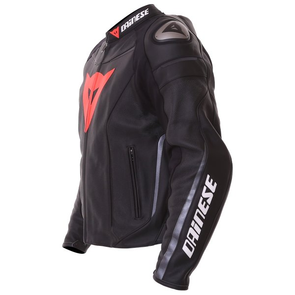 Dainese Superfast Perf Black Anthracite Leather Motorcycle Jacket Side