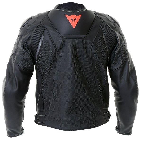 Dainese Superfast Perf Black Anthracite Leather Motorcycle Jacket Back