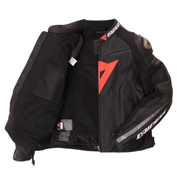 Dainese Superfast Perf Black Anthracite Leather Motorcycle Jacket Inside