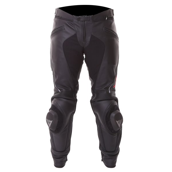 Dainese Delta Pro C2 Black Leather Motorcycle Pants Front