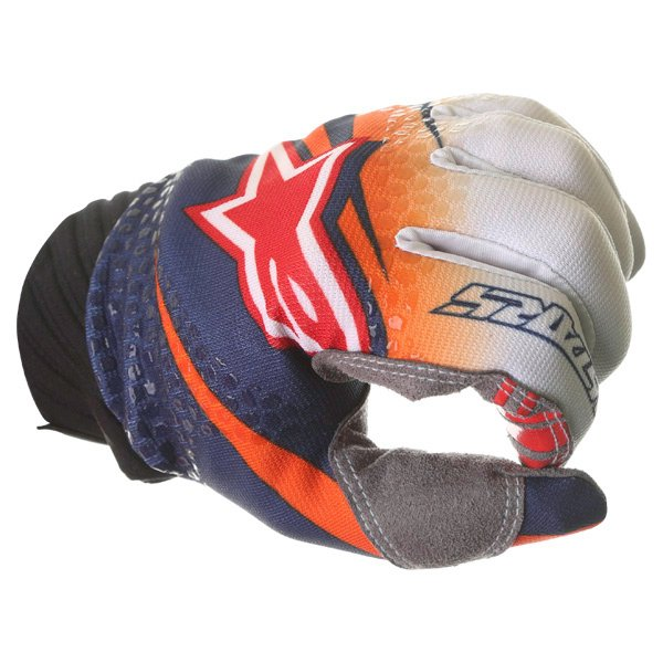 Alpinestars Techstar Venom Orange White Navy Motocross Gloves Knuckle