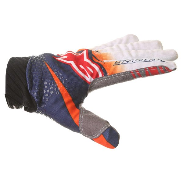 Alpinestars Techstar Venom Orange White Navy Motocross Gloves Thumb side