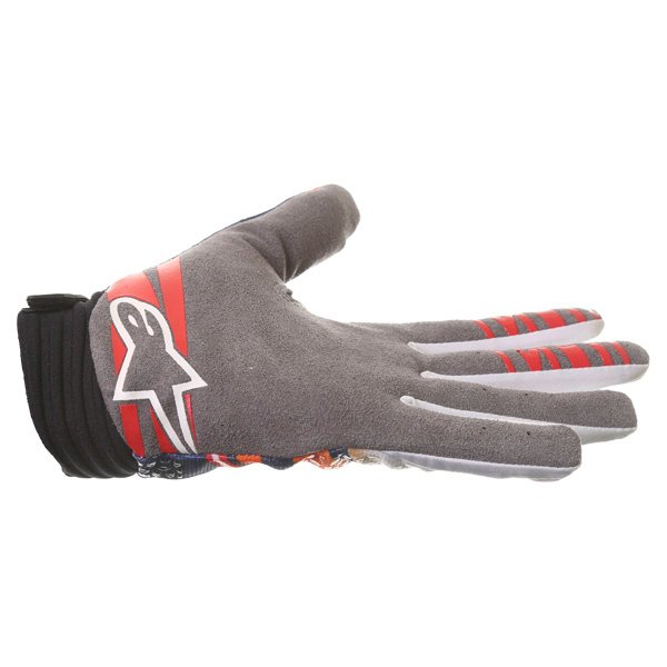 Alpinestars Techstar Venom Orange White Navy Motocross Gloves Little finger side