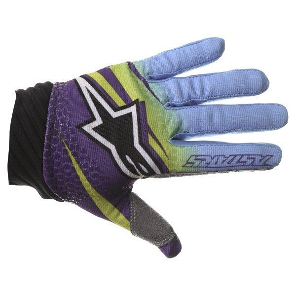 Alpinestars Techstar Venom Lime Cyan Purple Motocross Gloves Back