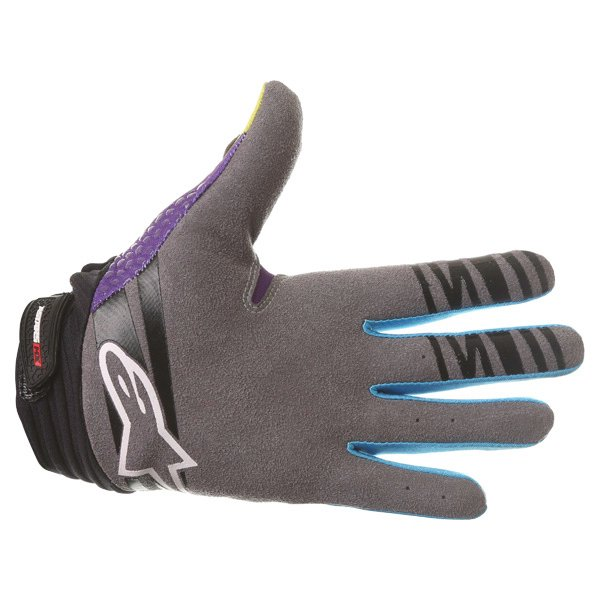 Alpinestars Techstar Venom Lime Cyan Purple Motocross Gloves Palm