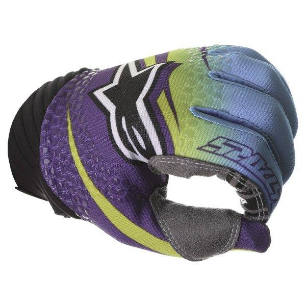 Alpinestars Techstar Venom Lime Cyan Purple Motocross Gloves Knuckle