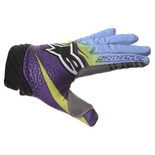 Alpinestars Techstar Venom Lime Cyan Purple Motocross Gloves Thumb side