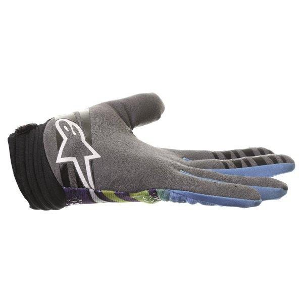 Alpinestars Techstar Venom Lime Cyan Purple Motocross Gloves Little finger side
