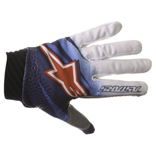 Alpinestars Techstar Venom Blue White Navy Motocross Gloves Back