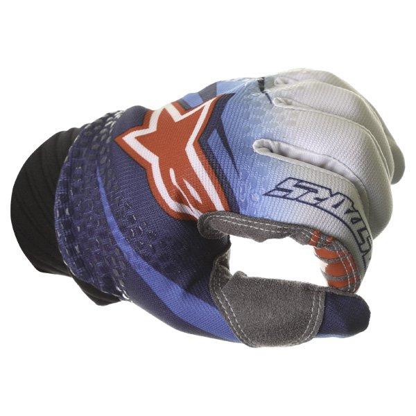 Alpinestars Techstar Venom Blue White Navy Motocross Gloves Knuckle