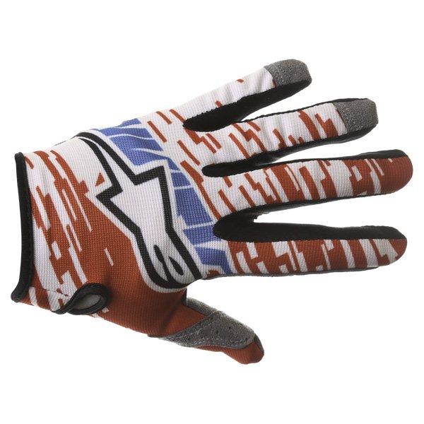 Alpinestars Racer Braap Red White Blue Motocross Gloves Back