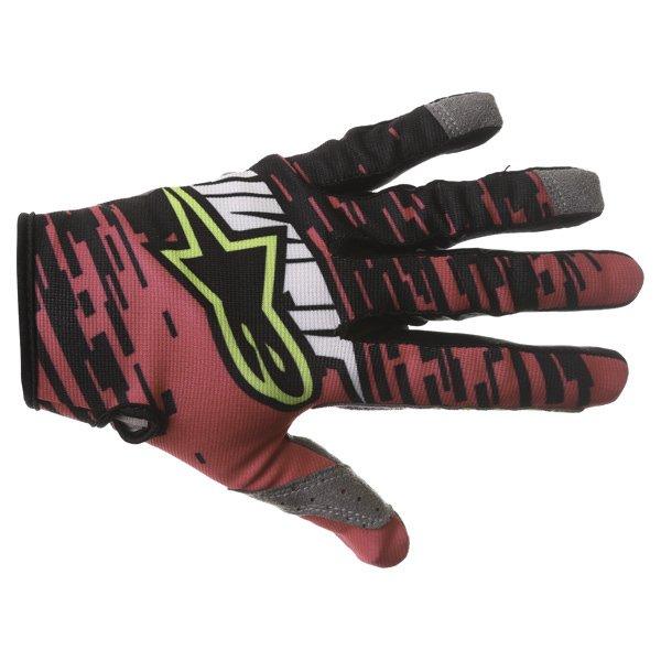 Alpinestars Racer Braap Pink Black Yellow Motocross Gloves Back