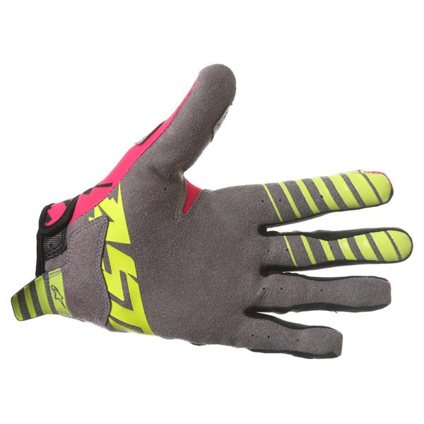 Alpinestars Racer Braap Pink Black Yellow Motocross Gloves Palm