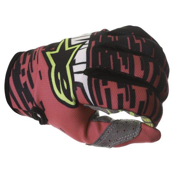 Alpinestars Racer Braap Pink Black Yellow Motocross Gloves Knuckle