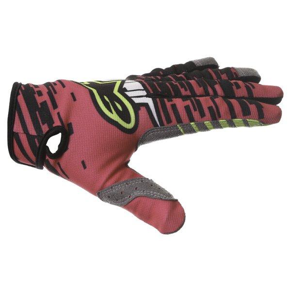 Alpinestars Racer Braap Pink Black Yellow Motocross Gloves Thumb side