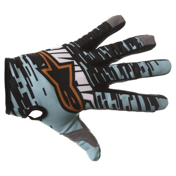 Alpinestars Racer Braap Turquoise Black Motocross Gloves Back
