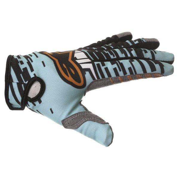 Alpinestars Racer Braap Turquoise Black Motocross Gloves Thumb side
