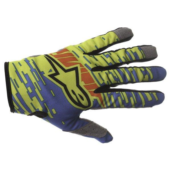 Alpinestars Racer Braap Blue Lime Red Motocross Gloves Back