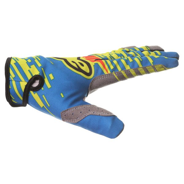 Alpinestars Racer Braap Blue Lime Red Motocross Gloves Thumb side