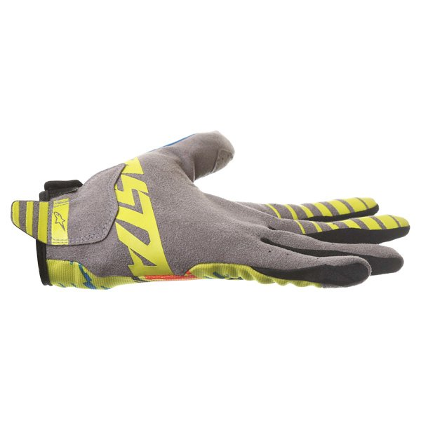 Alpinestars Racer Braap Blue Lime Red Motocross Gloves Little finger side