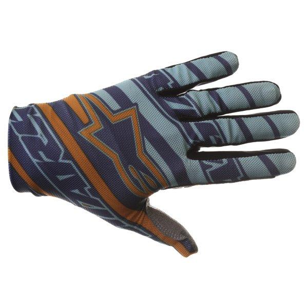 Alpinestars Dune Navy Turq Orange Motocross Gloves Back