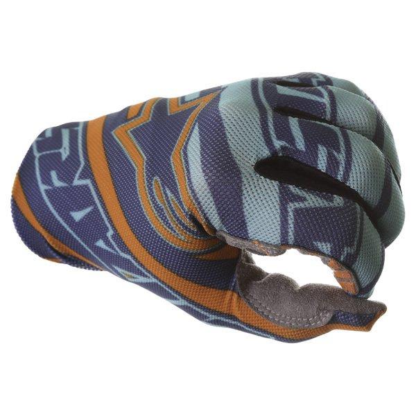 Alpinestars Dune Navy Turq Orange Motocross Gloves Knuckle