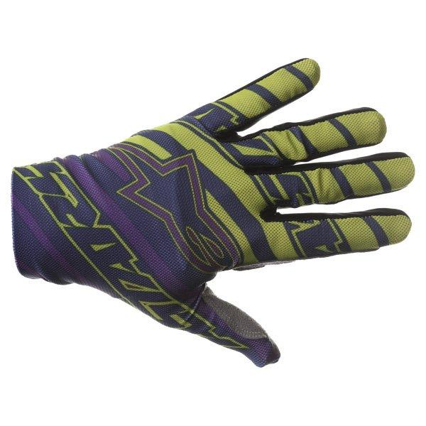 Alpinestars Dune Navy Lime Purple Motocross Gloves Back