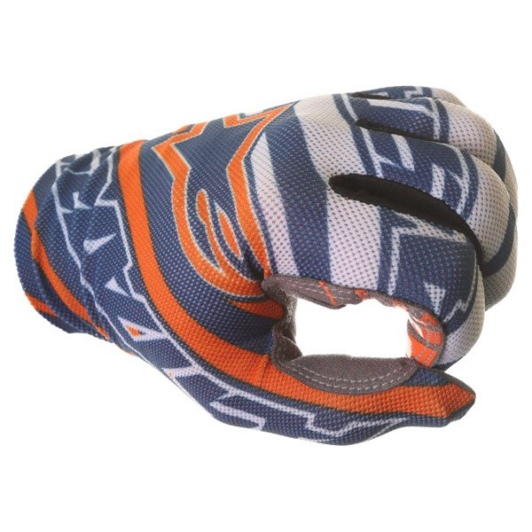 Alpinestars Dune Navy White Orange Motocross Gloves Knuckle