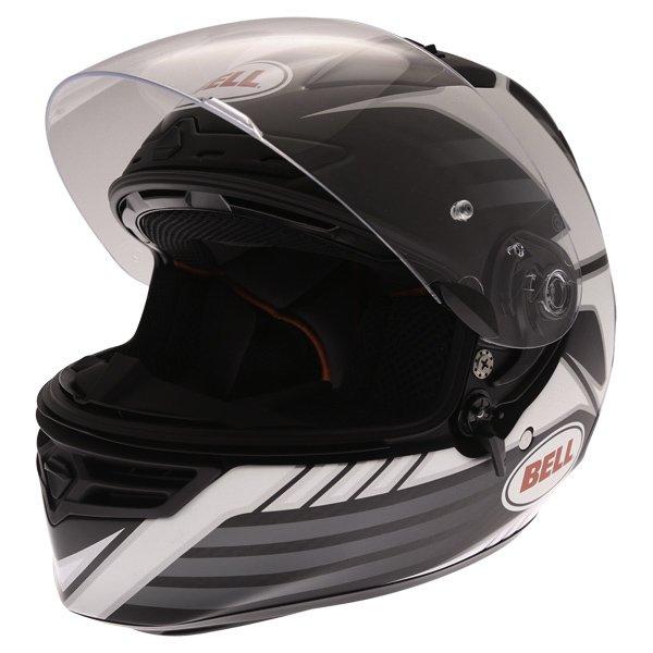 Bell Star Carbon Pinned Black Full Face Motorcycle Helmet Open
