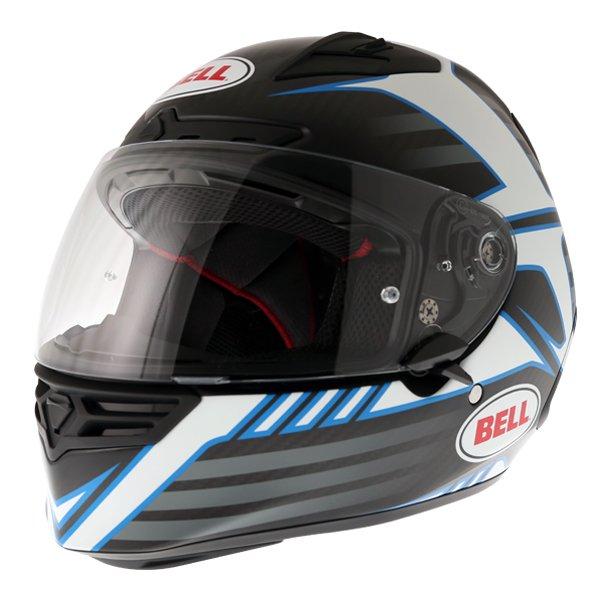 Bell Star Carbon Pinned Blue Full Face Motorcycle Helmet Front Left