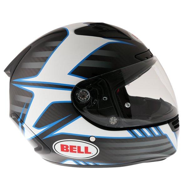 Bell Star Carbon Pinned Blue Full Face Motorcycle Helmet Right Side