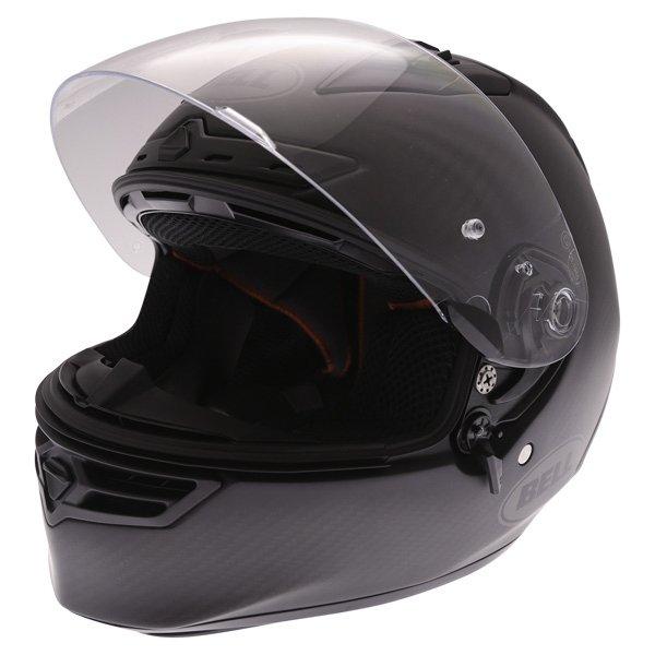 Bell Star Carbon Matt Carbon Full Face Motorcycle Helmet Visor Open