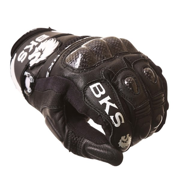 BKS Namib Mesh Black White Motorcycle Glove Knuckle