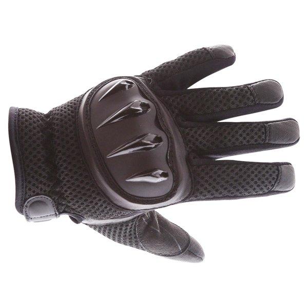 Frank Thomas Fresh Black Motorcycle Gloves Back