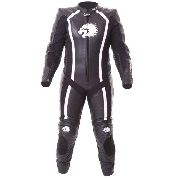 BKS Dakota 1 Piece Ladies Black White Leather Motorcycle Suit Front