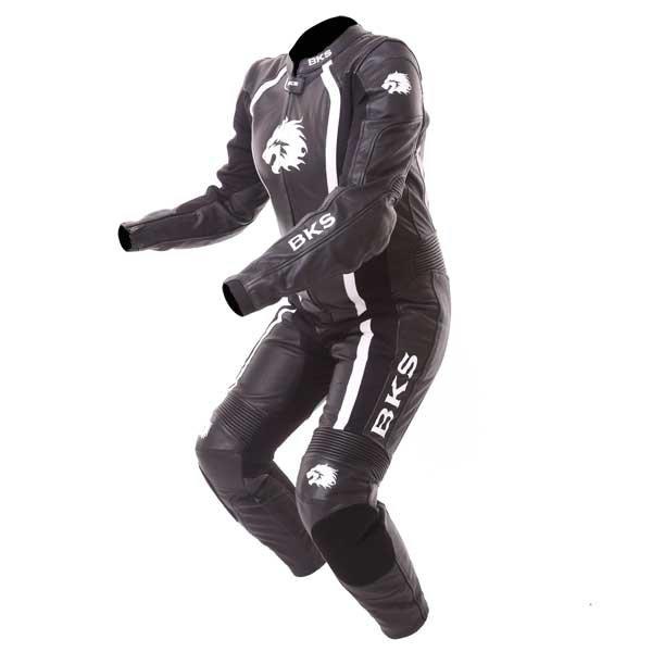 BKS Dakota 1 Piece Ladies Black White Leather Motorcycle Suit Racing crouch