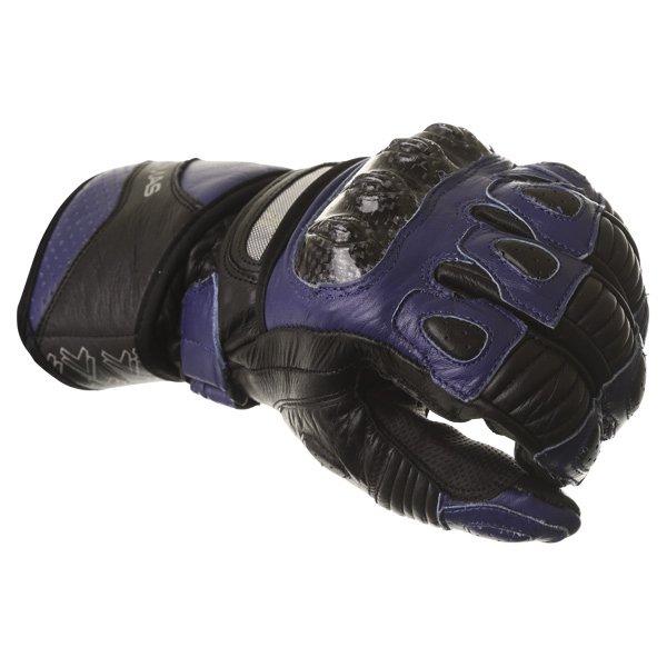 Frank Thomas Sport Black Blue Motorcycle Gloves Knuckle