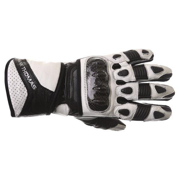 Frank Thomas Sport Black White Motorcycle Gloves Back